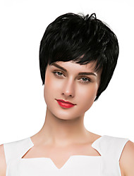 cheap -Synthetic Wig kinky Straight / Natural Straight Style Pixie Cut Capless Wig Black Natural Black Synthetic Hair 8 inch Women's Synthetic / New / Comfortable Black Wig Short Cosplay Wig