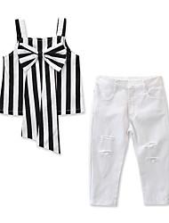 levne -Děti / Toddler Dívčí Aktivní / Základní Proužky Mašle Bez rukávů Standardní Bavlna / Spandex Sady oblečení Černá