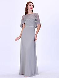 tanie -Krój A Zaokrąglony Sięgająca podłoża Szyfon Sukienka dla druhny z Koronka przez LAN TING Express