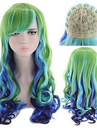 cheap -Synthetic Wig Curly Style Middle Part Capless Wig Ombre Rainbow Synthetic Hair 22 inch Women's Party Ombre Wig Long Natural Wigs