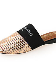 cheap -Women's Faux Leather Spring & Summer Minimalism Clogs & Mules Flat Heel Round Toe Gold / Silver / Gray / Color Block