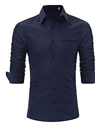 cheap -Men's Shirt - Solid Colored Navy Blue XL