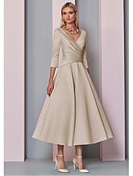 رخيصةأون -A-الخط V رقبة طول الساق ساتان فستان أم العروس مع ruching في بواسطة LAN TING BRIDE®