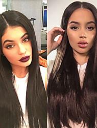 halpa -Synteettiset peruukit Kinky Straight Tyyli Keskiosa Suojuksettomat Peruukki Musta Musta Synteettiset hiukset 28 inch Naisten Naisten Musta Peruukki Pitkä Luonnollinen peruukki