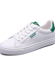 رخيصةأون -نسائي PU للربيع والصيف كلاسيكي أحذية رياضية المشي كعب مسطخ أمام الحذاء على شكل دائري وردي وأبيض / أسود وأبيض / أبيض وأخضر