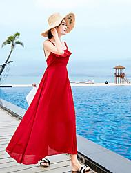 Χαμηλού Κόστους -Γραμμή Α Δένει στο Λαιμό Μέχρι τον αστράγαλο Σιφόν Φόρεμα με με LAN TING Express