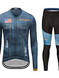 お買い得  -MUBODO 男性用 長袖 タイツ付きサイクリングジャージー ブーレ / ブラック バイク スーツウェア 高通気性 速乾性 反射性ストリップ スポーツ メッシュ マウンテンサイクリング ロードバイク 衣類 / 伸縮性あり