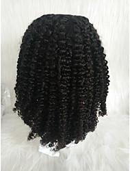 Недорогие -Натуральные волосы Лента спереди Парик Свободная часть стиль Бразильские волосы Афро Квинки Черный Парик 130% Плотность волос Женский Черный Жен. Короткие Прочее Clytie