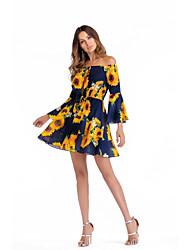 billiga -A-linje Off shoulder Kort / mini Jersey Klänning med Mönster / tryck av ITATOO