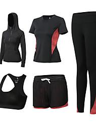 voordelige -5 stuks Dames Yoga pak Fuchsia Groen Grijs Sport Kleurenblok Sportoutfits Yoga Gym training Lange mouw Sportkleding Ademend Sneldrogend Zweetafvoerend Power Flex Hoge Elasticiteit