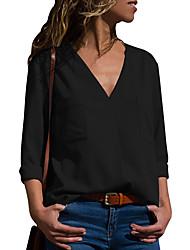 economico -Camicia Per donna Tinta unita Bianco XL