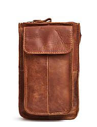 Недорогие -Муж. Молнии Воловья кожа Мобильный телефон сумка Шоколадный / Коричневый