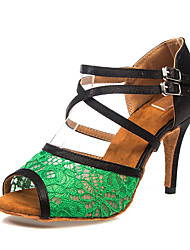Недорогие -Жен. Обувь для латины Сатин На каблуках Пряжки / Кружева Тонкий высокий каблук Персонализируемая Танцевальная обувь Зеленый