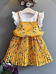 hesapli -Çocuklar Genç Kız sevimli Stil / Sokak Şıklığı Çiçekli / Kırk Yama Kırk Yama / Desen Kısa Kollu Suni İpek / Polyester Elbise Sarı
