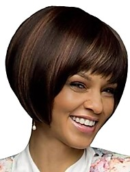 cheap -Synthetic Wig / Bangs Afro / Natural Straight Style Bob Capless Wig Brown Dark Brown / Dark Auburn Synthetic Hair 12 inch Women's Fashionable Design / Women / Synthetic Brown Wig Short Natural Wigs