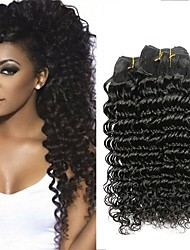 Недорогие -4 Связки Индийские волосы Крупные кудри 100% Remy Hair Weave Bundles Человека ткет Волосы Пучок волос Накладки из натуральных волос 8-28 дюймовый Естественный цвет Ткет человеческих волос