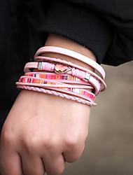 Недорогие -Жен. Wrap Браслеты Кожаные браслеты Браслет Плетение Свисающие Милая Мода Кожа Браслет Ювелирные изделия Коричневый / Розовый / Светло-синий Назначение