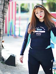 halpa -JIAAO Naisten Skin-tyyppinen märkäpuku Sukelluspuvut UV-aurinkosuojaus Tuulenkestävä Pitkähihainen Uinti Sukellus Maalaus Patchwork Syksy Kevät Kesä / Elastinen