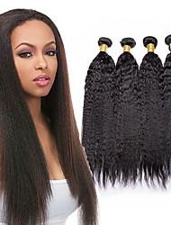 economico -4 pacchi Brasiliano Kinky liscia Capello vergine Ciocche a onde capelli veri Bundle di capelli Un pacchetto di soluzioni 8-28inch Colore Naturale Tessiture capelli umani Carino Sicurezza Romantico