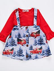 povoljno -Dijete Djevojčice Osnovni Print Print Dugih rukava Regularna Pamuk / Poliester Komplet odjeće Red
