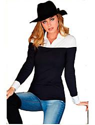 levne -Dámské - Jednobarevné Košile, Patchwork Černá M