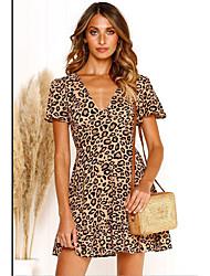 ieftine -Pentru femei De Bază Șic Stradă Teacă Rochie Leopard Sub Genunchi