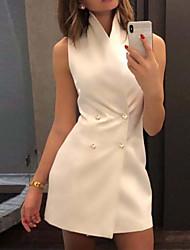 Недорогие -Жен. Классический Оболочка Платье - Однотонный Мини