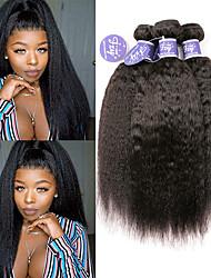 billige -3 Bundler Brasiliansk hår Yaki Straight Ubehandlet Menneskehår 100% Remy Hair Weave Bundles Hovedstykke Menneskehår, Bølget Bundle Hair 8-28 inch Lilla Naturlig Farve Menneskehår Vævninger Blød
