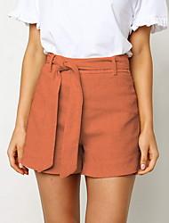 baratos -Mulheres Básico Shorts Calças - Sólido Branco