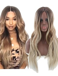 cheap -Synthetic Wig Wavy Style Middle Part Capless Wig Golden Light golden Synthetic Hair 22 inch Women's Women Golden Wig Long Natural Wigs