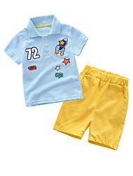 お買い得  -赤ちゃん 男の子 カジュアル プリント 半袖 レギュラー コットン アンサンブル ブルー