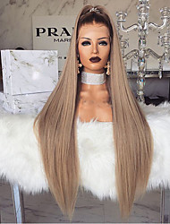 halpa -Synteettiset peruukit Kinky Straight Tyyli Keskiosa Suojuksettomat Peruukki Vaaleahiuksisuus Vaalea kulta Synteettiset hiukset 28 inch Naisten Naisten Vaaleahiuksisuus Peruukki Pitkä Luonnollinen