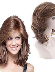 halpa -Synteettiset peruukit Laineita Tyyli Keskiosa Suojuksettomat Peruukki Ruskea Vaalean ruskea Synteettiset hiukset 22 inch Naisten Naisten Ruskea Peruukki Pitkä Luonnollinen peruukki