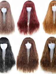 cheap -Synthetic Wig Curly Style Middle Part Capless Wig Ombre Natural Black Light Brown Dark Brown / Dark Auburn Synthetic Hair 22 inch Women's Party Ombre Wig Long Natural Wigs