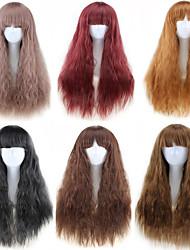 halpa -Synteettiset peruukit Kihara Tyyli Keskiosa Suojuksettomat Peruukki Ombre Musta Pronssi Tummanruskea / tumma Auburn Synteettiset hiukset 22 inch Naisten Party Ombre Peruukki Pitkä Luonnollinen