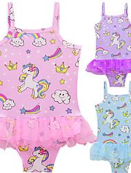 ราคาถูก -ชุดว่ายน้ำ ชุดว่ายน้ำชุดคอสเพลย์ สาวบี สำหรับเด็ก คอสเพลย์และคอสตูม คอสเพลย์ วันฮาโลวีน สีม่วง / ฟ้า / สีชมพู Unicorn Printing ตูเล่ Polyster เด็กผู้หญิง วันคริสต์มาส วันฮาโลวีน เทศกาลคานาวาล