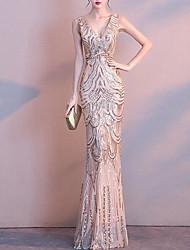 preiswerte -Trompete / Meerjungfrau V-Ausschnitt Boden-Länge Spitze / Pailletten Kleid mit Paillette / Stickerei durch LAN TING Express