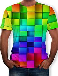 Недорогие -Муж. С принтом Футболка Круглый вырез 3D / Радужный Цвет радуги / С короткими рукавами
