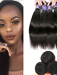 billige -4 pakker Brasiliansk hår Lige 100% Remy Hair Weave Bundles Menneskehår, Bølget Udvidelse Bundle Hair 8-28 inch Naturlig Farve Menneskehår Vævninger Dame Hot Salg 100% Jomfru Menneskehår Extensions