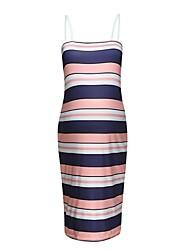 お買い得  -女性用 ストリートファッション シース ドレス - バックレス, ストライプ 膝上