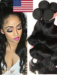 Недорогие -4 Связки Перуанские волосы Естественные кудри Необработанные натуральные волосы Человека ткет Волосы Пучок волос Накладки из натуральных волос 8-28 дюймовый Естественный цвет Ткет человеческих волос