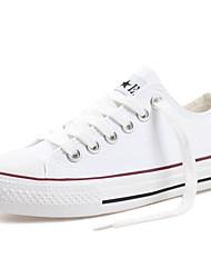 رخيصةأون -نسائي كانفا للربيع والصيف كلاسيكي / شيوع أحذية رياضية المشي كعب مسطخ أمام الحذاء على شكل دائري أبيض / أسود