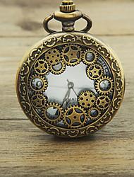 Недорогие -Муж. Карманные часы Кварцевый Бронза 30 m С гравировкой Аналоговый Роскошь Винтаж Steampunk - Бронзовый Два года Срок службы батареи