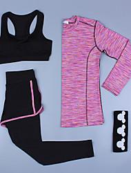 voordelige -3 stuks Dames Patchwork Yoga pak Roze Grijs Licht Groen Sport Effen Kleur Sportoutfits Yoga Gym training Lange mouw Sportkleding Ademend Sneldrogend Zweetafvoerend Power Flex Hoge Elasticiteit