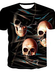 billiga -Tryck, Färgblock / 3D / Dödskalle T-shirt Herr Marinblå XXXXL