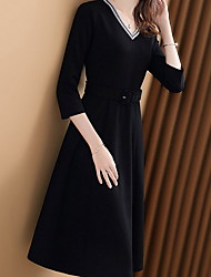 billiga -kvinnans knälängd en linje klänning v nack svart s m l xl