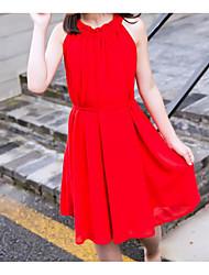 お買い得  -子供 女の子 活発的 / かわいいスタイル ソリッド ノースリーブ ポリエステル / スパンデックス ドレス ルビーレッド