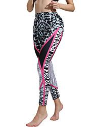 ราคาถูก -ชุดกีฬา เสื้อ / Yoga สำหรับผู้หญิง การฝึกอบรม / Performance Elastane / polyster แพทเทิร์นหรือลายพิมพ์ ธรรมชาติ กางเกง