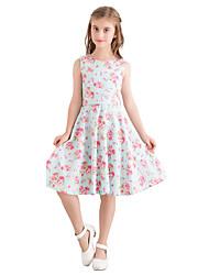 お買い得  -子供 女の子 ヴィンテージ かわいいスタイル フラワー プリント ノースリーブ 膝丈 コットン ドレス ライトブルー