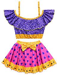ราคาถูก -ชุดว่ายน้ำ ชุดว่ายน้ำชุดคอสเพลย์ สาวบี สำหรับเด็ก คอสเพลย์และคอสตูม คอสเพลย์ วันฮาโลวีน สีม่วง ความรัก Printing Polyster เด็กผู้หญิง วันคริสต์มาส วันฮาโลวีน เทศกาลคานาวาล / Top / ความยืดหยุ่นสูง